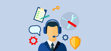 Man with a headset with icons of gears, a speech bubble, tools, notepad and pen, key and badge surrounding him. Illustration.