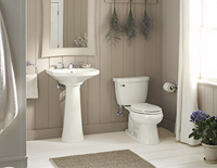 Stand-alone decorative bathroom sink with a mirror above it next to a white toilet.