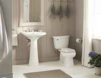 Lavabo décoratif autonome avec miroir au-dessus d'une toilette blanche.