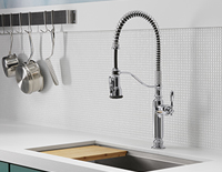 Built-in decorative kitchen sink with a pull down sprayer faucet that has as a cutting board over half the sink.