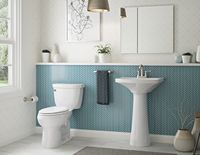 Decorative white bathroom toilet next to a stand-alone decorative bathroom sink.