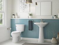 Toilettes de salle de bains blanches et décoratives à côté d'un lavabo décoratif autonome.